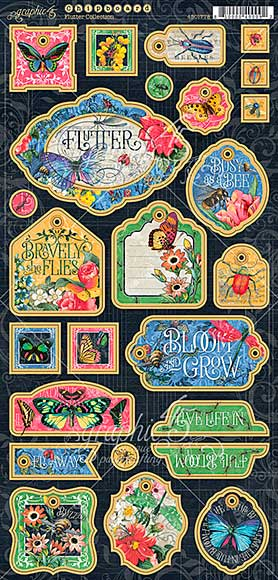 Graphic 45 Flutter Chipboard Die-Cuts 6X12 Sheet - Decorative and Journaling