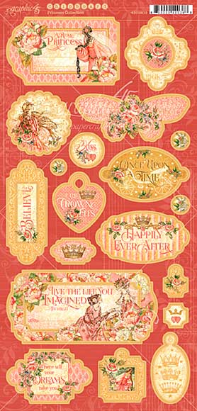 Graphic 45 Princess Chipboard Decorative and Journaling Die-Cuts 6x12 Sheet