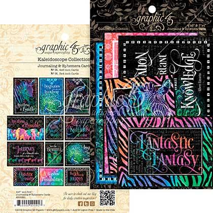 Graphic 45 Kaleidoscope Ephemera Cards - (16) 4x6 and (16) 3x4