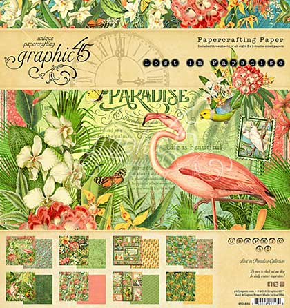 SO: Graphic 45 Lost In Paradise Double-Sided Paper Pad 8x8 24pk (8 Designs 3 Each)