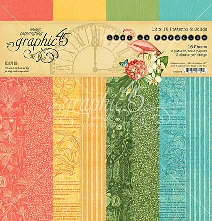 SO: Graphic 45 Lost In Paradise Double-Sided Paper Pad 12x12 16pk (8 Designs 2 Each)