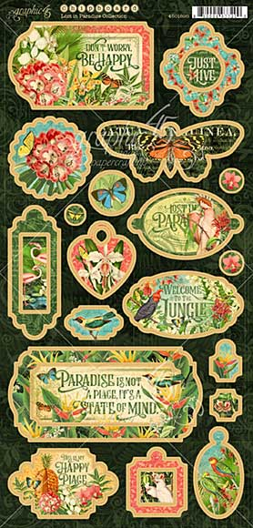 Graphic 45 Lost In Paradise Chipboard Decorative and Journaling Die-Cuts (6x12 Sheet)