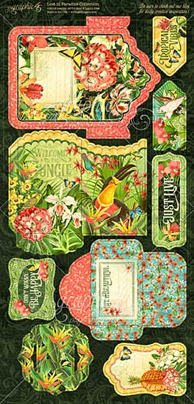 Graphic 45 Lost In Paradise Tags and Pockets Cardstock Die-Cuts 6x12 (2pk)