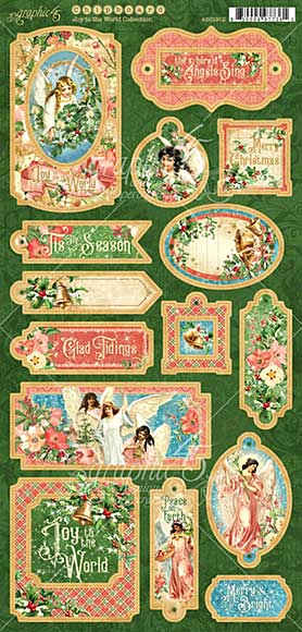 Graphic 45 Joy To The World - 6x12 Decorative and Journaling Chipboard Die-Cuts Sheet