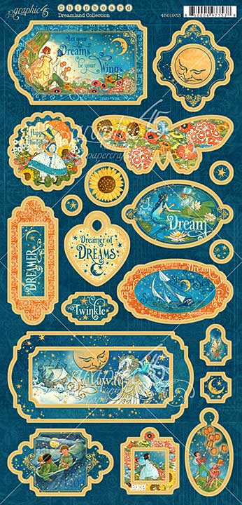 PRE: Graphic 45 Dreamland - 6x12 Decorative Chipboard Sheet