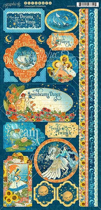 PRE: Graphic 45 Dreamland - 6x12 Cardstock Stickers 2pc