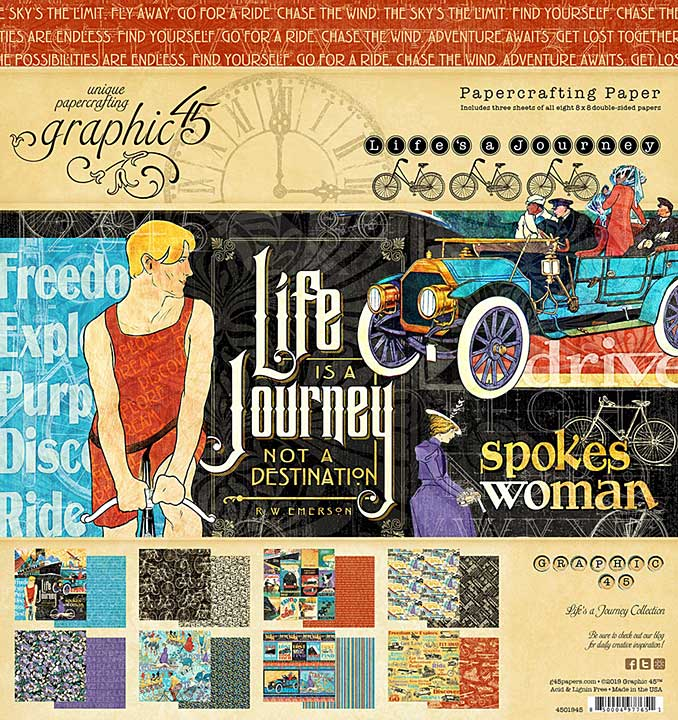 SO: Graphic 45 Lifes a Journey - 8x8 Double-Sided Paper Pad 24pk (8 Designs, 3 Each)