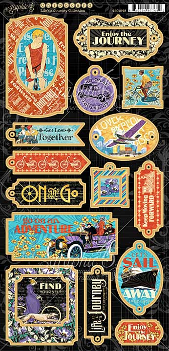PRE: Graphic 45 Lifes a Journey - 6x12 Decorative Chipboard Sheet