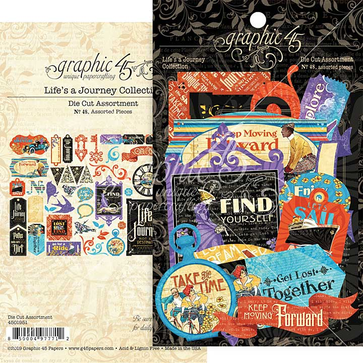 SO: Graphic 45 Lifes a Journey - Cardstock Die-Cut Assortment (NEW)