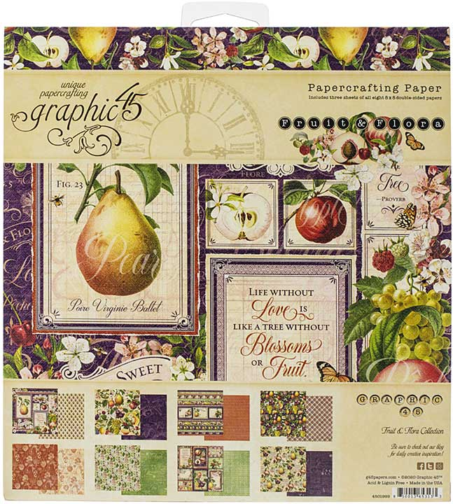 Graphic 45 Fruit and Flora - 8x8 Double-Sided Paper Pad 24pk