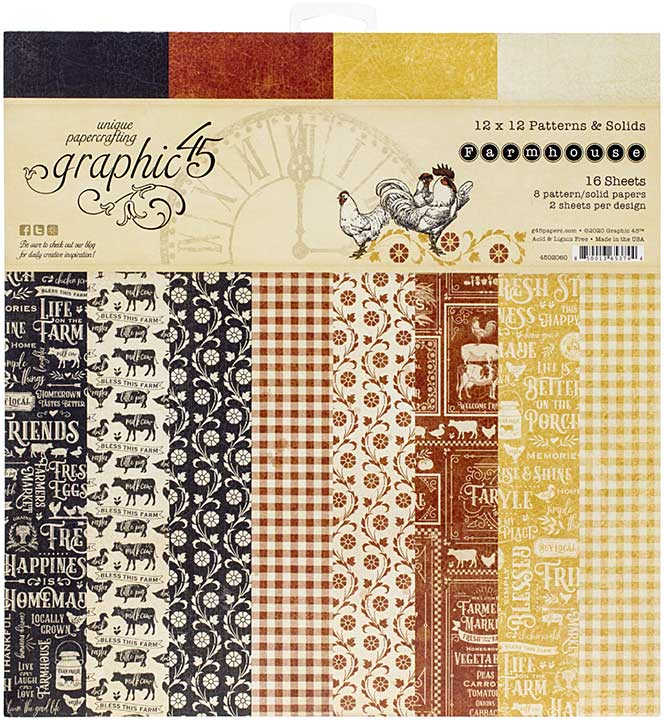 Graphic 45 Farmhouse - 12x12 Double-Sided Paper Pad 16pk