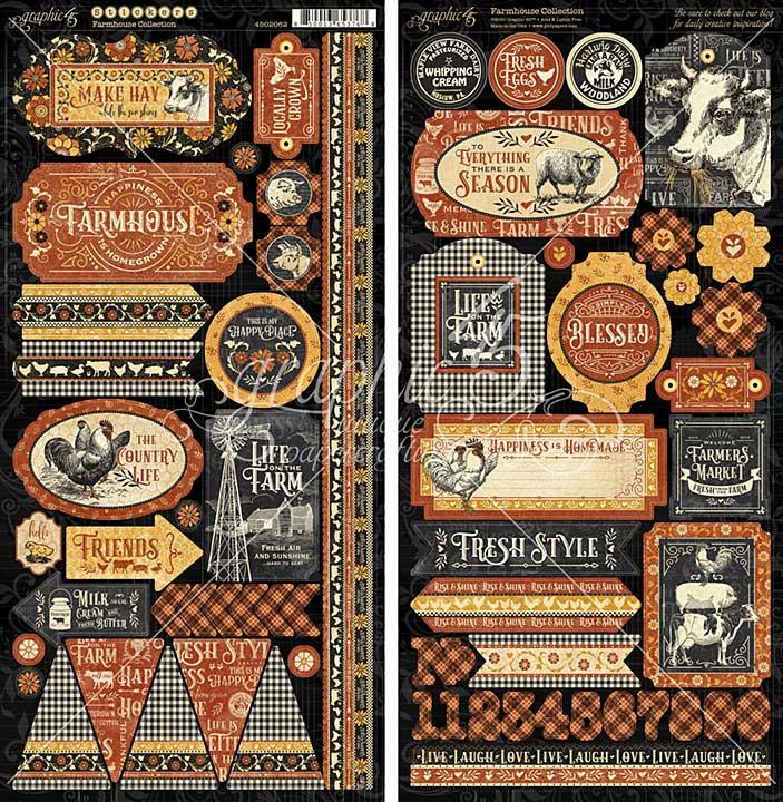 Graphic 45 Farmhouse - 12x12 Cardstock Stickers