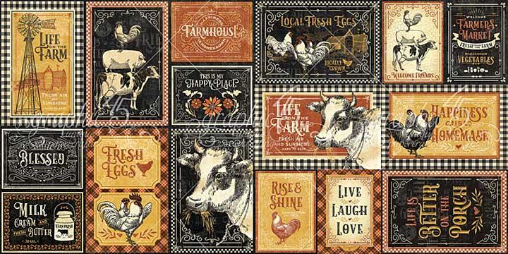 Graphic 45 Farmhouse - Ephemera Cards - (16) 4X6 and (16) 3X4