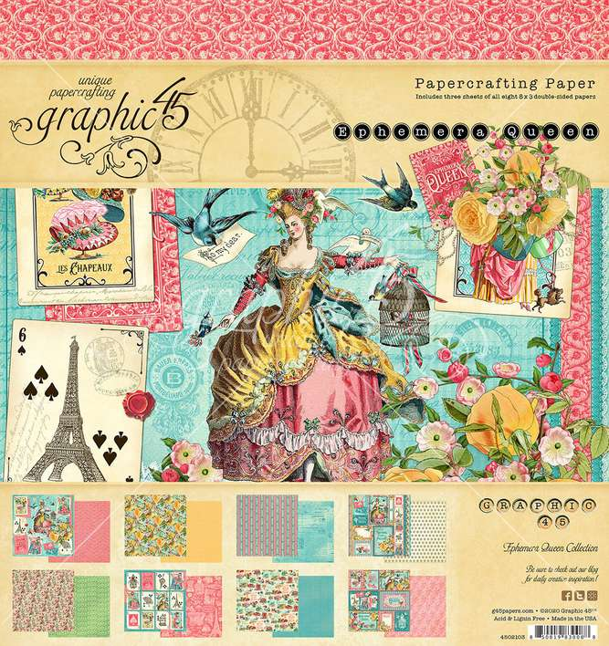 Graphic 45 Ephemera Queen - 8x8 Double-Sided Paper Pad, 24pk