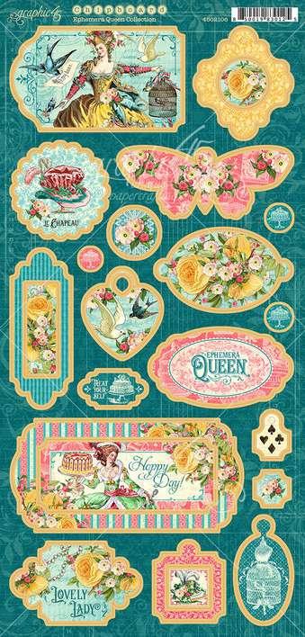 Graphic 45 Ephemera Queen - 6x12 Chipboard Die-Cuts Sheet