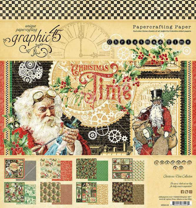 Graphic 45 Christmas Time - 8x8 Double-Sided Paper Pad, 24pk
