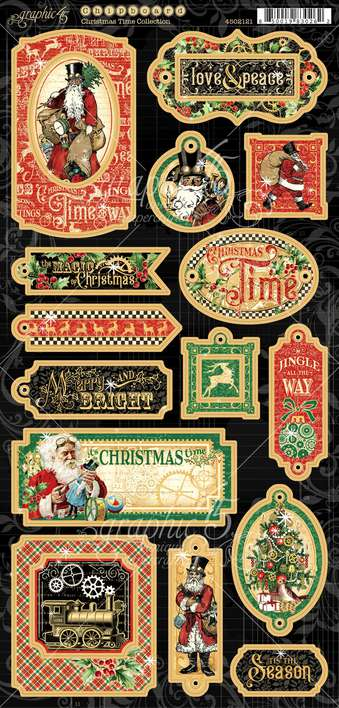 Graphic 45 Christmas Time - 6x12 Chipboard Die-Cuts Sheet