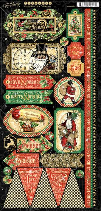 Graphic 45 Christmas Time - 12x12 Cardstock Stickers