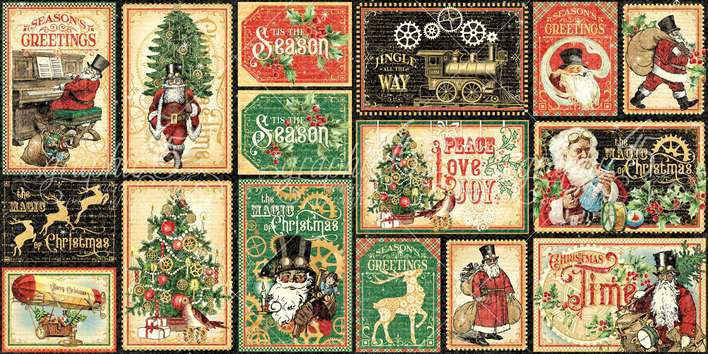 Graphic 45 Christmas Time - Ephemera and Journaling Cards (16) 4x6. (16) 3x4