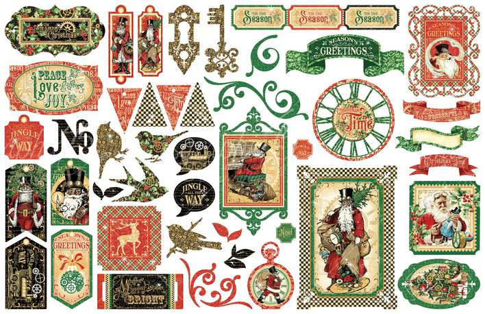 Graphic 45 Christmas Time - Cardstock Die-Cut Assortment