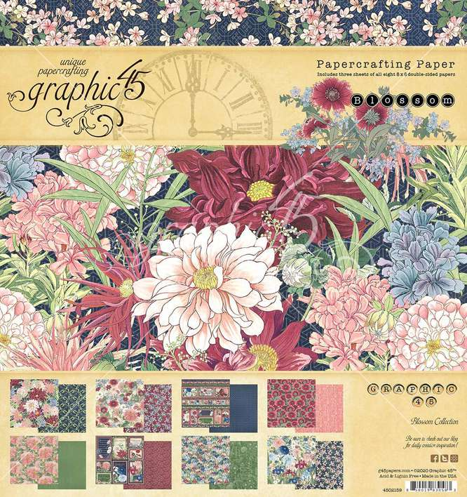 Graphic 45 Blossom - 8x8 Double-Sided Paper Pad, 24pk