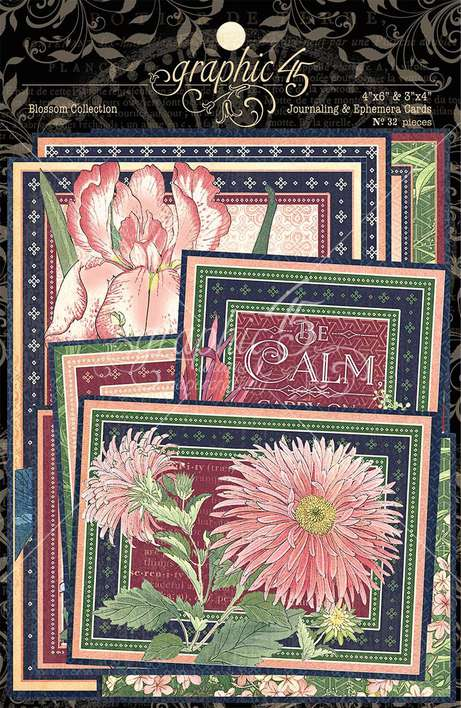 SO: Graphic 45 Blossom - Ephemera and Journaling Cards (16) 4x6 (16) 3x4