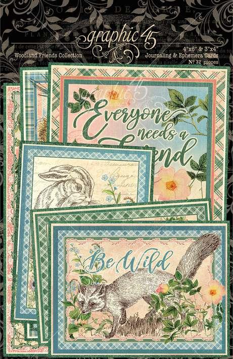 Graphic 45 Woodland Friends - Ephemera and Journaling Cards (16) 4x6 (16) 3x4