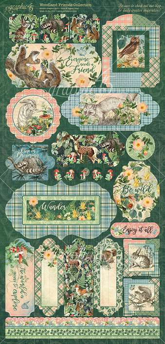 Graphic 45 Woodland Friends - 12x12 Cardstock Stickers