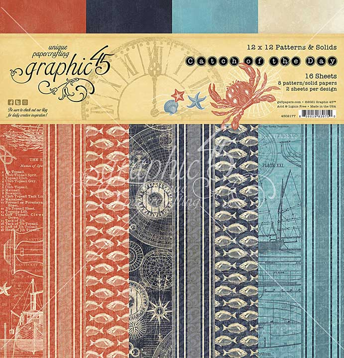 Graphic 45 Catch of the Day - 12 x 12 Double-Sided Paper Pad, 16pk