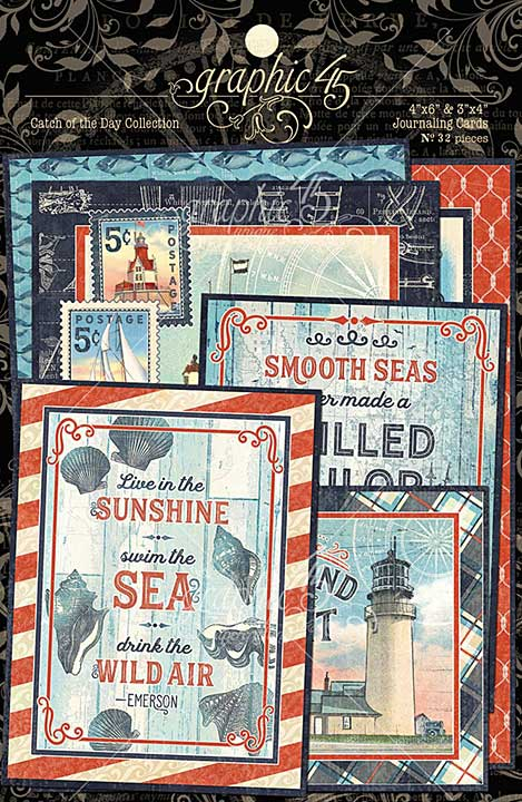 Graphic 45 Catch of the Day - Ephemera and Journaling Cards (16) 4x6 (16) 3x4