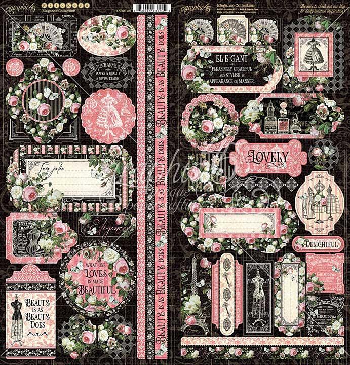 Graphic 45 Elegance - 12x12 Cardstock Stickers