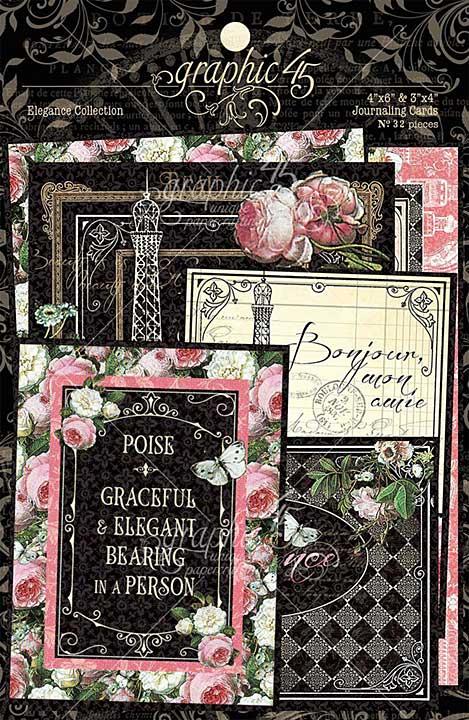 Graphic 45 Elegance - Ephemera and Journaling Cards (16) 4x6 (16) 3x4