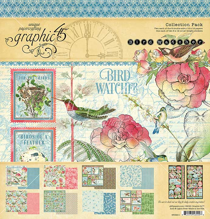 Graphic 45 Bird Watcher - 12 x 12 Collection Pack