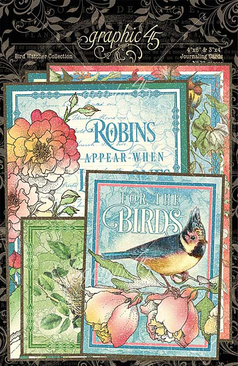 Graphic 45 Bird Watcher - Ephemera and Journaling Cards (16) 4x6 (16) 3x4