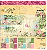 Graphic 45 Bloom 8x8 Double-Sided Paper Pad 24pk (8 Designs 3 each)