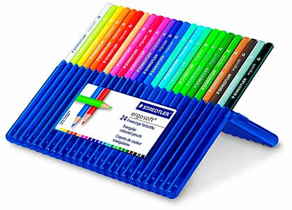 SO: Staedtler Ergosoft 24 Triangular Coloured Pencils - Crayons in Platic Case