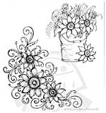SO: SF14 Heartfelt Creations Pre-Cut Stamps - Sunflower Bucket