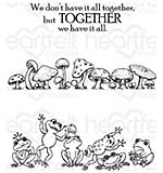 Heartfelt Creations - Leaping Frogs (WF16 Cling Rubber Stamp Set)