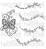 Heartfelt Creations - Butterfly Kisses - Cling Rubber Stamp Set