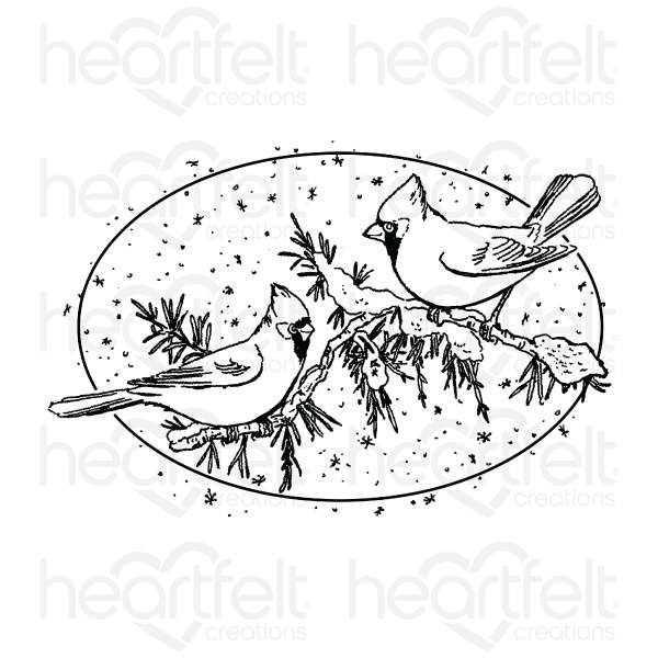 Heartfelt Creations Cling Rubber Stamp Set - Snowy Pines Cardinals