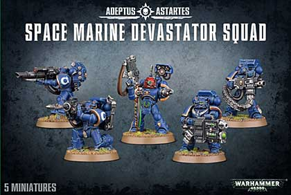 Warhammer 40000 Space Marine Devastator Squad (5 Models)