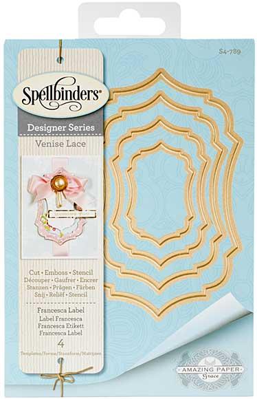 Spellbinders Shapeabilities Dies - Venise Lace - Francesca Label (Becca Feeken)