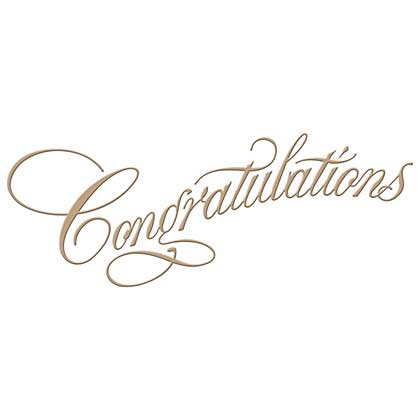 Spellbinders Glimmer Hot Foil Plate Copperplate Script Congratulations