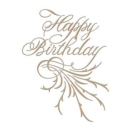 SO: Spellbinders Glimmer Hot Foil Plate Copperplate Script Happy Birthday