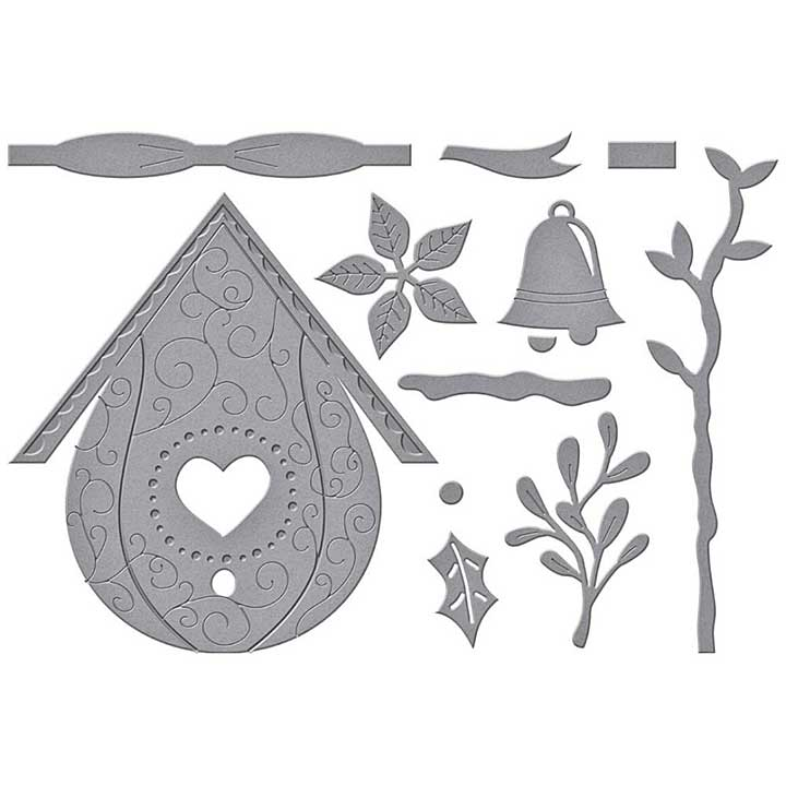 Spellbinders Etched Dies By Vicky Papaioannou - Build A Winter Birdhouse
