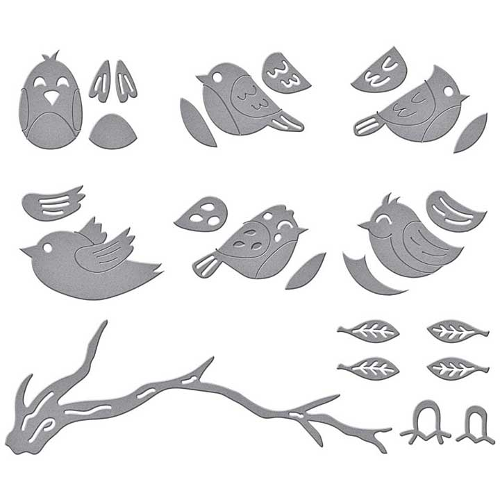 Spellbinders Etched Dies By Vicky Papaioannou - Sweet Birds On A Branch