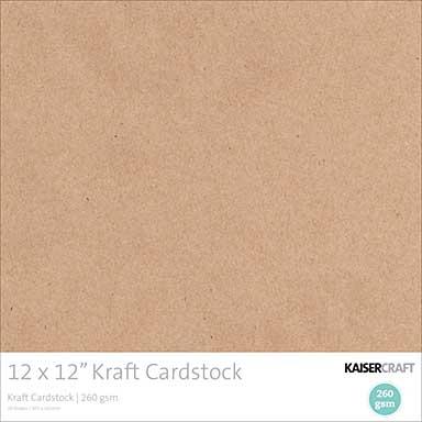 Kaisercraft Cardstock - Kraft 12X12 (20pk, 260gsm)