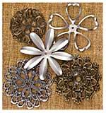 Sunrise Sunset Mechanicals Metal Vintage Trinkets - Flower Shapes 1.75 To 2.5, 5pk