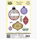 JustRite Cling Stamp Set - Vintage Christmas Ornaments