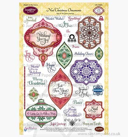 SO: JustRite Clear Stamps Set - Noel Christmas Ornaments